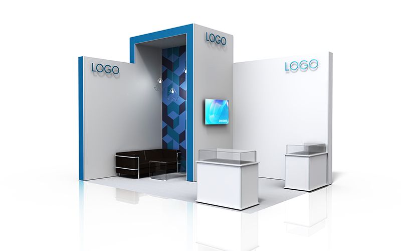 Two side L shape exhibition stand with meeting area, media screen and 2 ISObar display cases