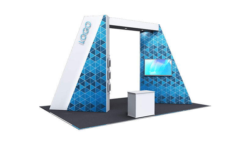 Island stand, geometric archway with LED back lit logo, media screen and 2 bay ISObar