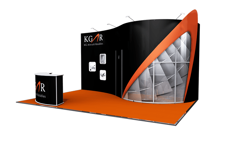Backwall exhibition stand, 3.5m high, private meeting room with printed acrylic walls, curved ISObar counter