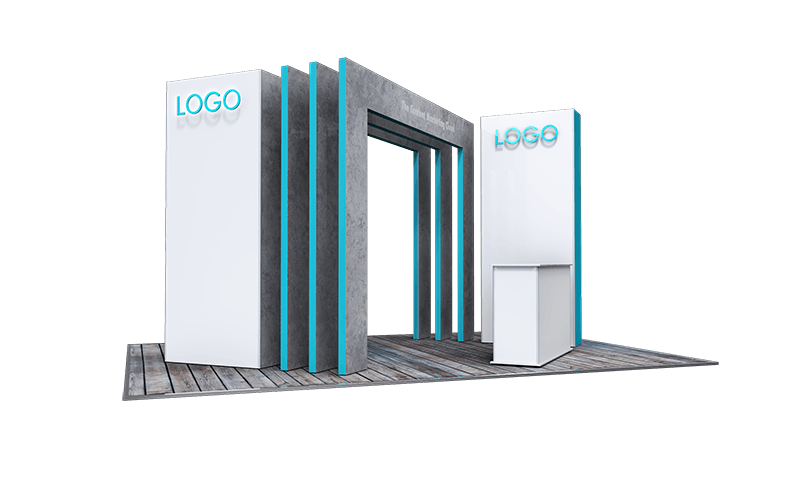 Island stand, geometric archway feature, LED back lit logo and 2 bay ISObar counter