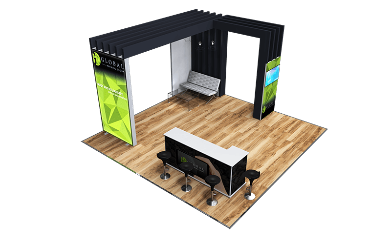 Island stand with back lit fabric walls, L shape ISObar meeting area with stools.