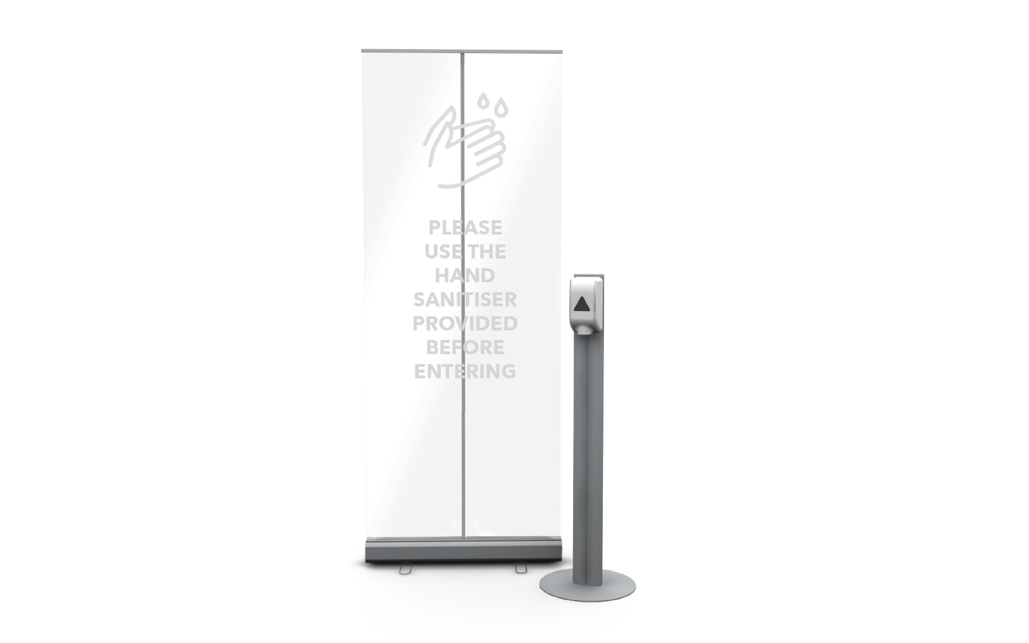 Free-standing automatic touch-free sanitiser station